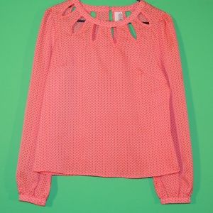 Francesca's Womens L Orange Long Slv Shirt / Top